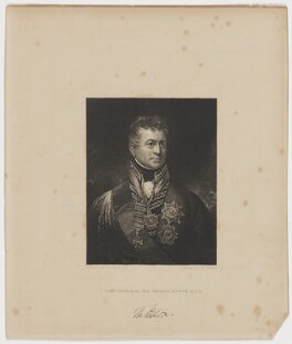 Sir Thomas Picton, by Peltro William Tomkins, published by  Fisher Son & Co, after  Sir William Beechey - NPG D42727