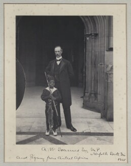 Arthur Wellesley Soames and Pygmy from Central Africa, by Benjamin Stone - NPG x137718