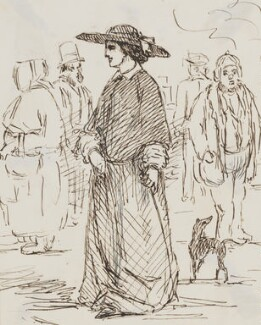 Five unknown figures and a dog, by Sebastian Evans - NPG 2173(29)
