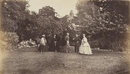 Mrs Collinson; Mrs A. Fisher; Lieutenant Eden; Lieutenant Anstey; Miss Eden, by Unknown photographer, 1865 - NPG Ax137937 - © National Portrait Gallery, London