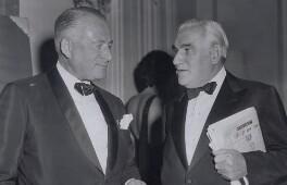 Sir Charles Clore; Sir Isaac Wolfson, 1st Bt, by BBC - NPG x184271