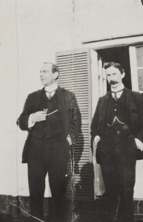 Bertrand Russell and an unknown man, by Unknown photographer - NPG Ax160722