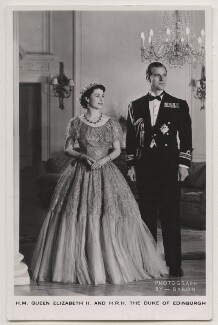 Queen Elizabeth II; Prince Philip, Duke of Edinburgh, by Baron (Sterling Henry Nahum), published by  James Valentine & Sons Ltd - NPG x138039
