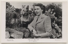 Queen Elizabeth II with her corgi Susan, by Studio Lisa (Lisa Sheridan), published by  The Photochrom Co Ltd - NPG x138062