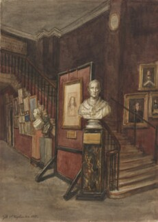Staircase to the Upper Long Gallery, near the entrance of the National Portrait Gallery at South Kensington, by Sir George Scharf - NPG 2747d