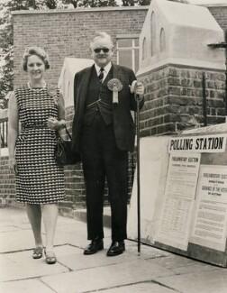 Mary Evelyn Hogg (née Martin), Viscountess Hailsham; Quintin McGarel Hogg, 1st Baron Hailsham of St Marylebone, by Central Press - NPG x182326