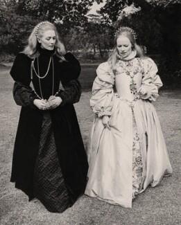 Vanessa Redgrave as Mary Stuart and Glenda Jackson as Elizabeth I during filming of 'Mary, Queen of Scots', by Keystone Press Agency Ltd - NPG x182338