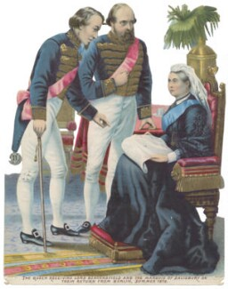 Benjamin Disraeli, Earl of Beaconsfield; Robert Gascoyne-Cecil, 3rd Marquess of Salisbury; Queen Victoria, after Unknown artist - NPG D42972