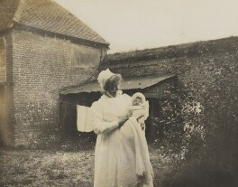 Barbara Strachey (Hultin, later Halpern) with monthly nurse, by Unknown photographer, July 1912 - NPG Ax160822 - © reserved; collection National Portrait Gallery, London