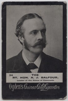 Arthur James Balfour, 1st Earl of Balfour, by James Russell & Sons, published by  Ogden's, 1887, published circa 1895-1906 - NPG x197000 - © National Portrait Gallery, London
