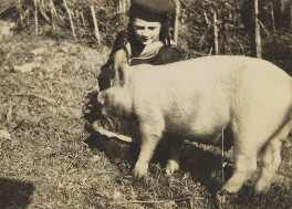 (Karin) Judith Henderson (née Stephen) and pig 'Celestino', by Unknown photographer - NPG Ax160901