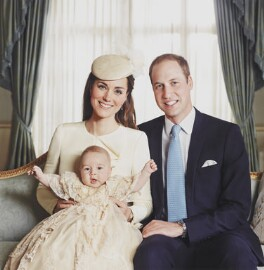 Catherine, Duchess of Cambridge; Prince George of Cambridge; Prince William, Duke of Cambridge, by Jason Bell - NPG x138175