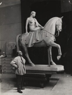 Sir William Reid Dick with his statue of 'Lady Godiva', by Unknown photographer - NPG x194077