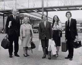 Francis Aungier Pakenham, 7th Earl of Longford; Christine Saville; Joan Bourne; Sue Pegden; Gyles Brandreth, by Keystone Press Agency Ltd - NPG x194128