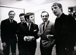 Don Moss; Keith Fordyce; Alan Freeman; David Lewis Jacobs; Simon Dee, by Unknown photographer, 1967 - NPG x194145 - © National Portrait Gallery, London