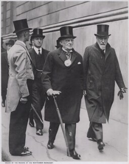 Sir Percy Vincent, 1st Bt; Montagu Collet Norman, 1st Baron Norman, by Unknown photographer - NPG x194148