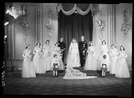 Wedding of Queen Elizabeth II and Prince Philip, Duke of Edinburgh, with bridesmaids and page boys, by Bassano Ltd - NPG x158906