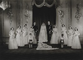 Wedding of Queen Elizabeth II and Prince Philip, Duke of Edinburgh, with bridesmaids and page boys (Queen Elizabeth II; Prince Philip, Duke of Edinburgh; Hon. Margaret Rhodes (née Elphinstone); Lady Pamela Carmen Louise Hicks (née Mountbatten); Lady ...), by Bassano Ltd - NPG x158907