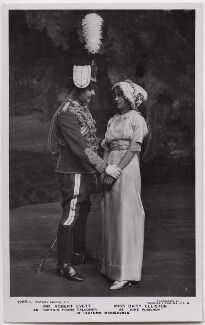 Robert Evett as Captain Frank Falconer and Daisy Elliston as June Pomeroy in 'Autumn Manoeuvres', by Foulsham & Banfield, published by  Rotary Photographic Co Ltd - NPG x138272