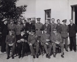 Winston Churchill with the British delegation at the Casablanca Conference, by Unknown photographer - NPG x194247