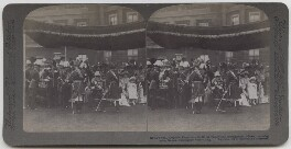 'Edward VII, King and Emperor, with Royal Family and distinguished Officers, honoring Indian Guests, Buckingham Palace, England', published by Underwood & Underwood, 1902 - NPG x197233 - © National Portrait Gallery, London