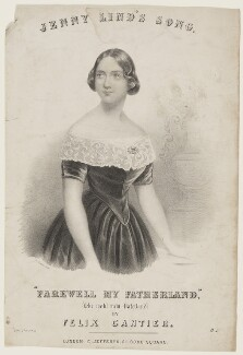 Jenny Lind, by F. Sexton, printed by  M & N Hanhart, published by  Charles Jefferys, after  Conrad L'Allemand - NPG D42835