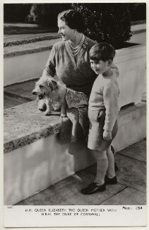 Queen Elizabeth, the Queen Mother; Prince Charles, by Studio Lisa (Lisa Sheridan), published by  Raphael Tuck & Sons - NPG x193009