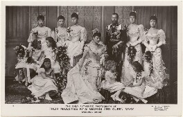'The Only Authentic Photograph of Their Majesties King George and Queen Mary, Wedding Group', by W. & D. Downey - NPG x197486