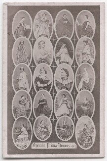 'Operatic Prima Donnas', by Frederick Holland Mares, after  Henry Hering, and  Mayer Brothers, and  Richard Burton & Co, and  Disdéri, and  Camille Silvy, and probably  William Edward Kilburn, and  Southwell Brothers, and  John Burton, and  Clarkington & Co (Charles Clarkington), - NPG x197566