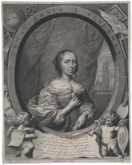Anna Maria van Schurman, by Cornelis van Dalen the Younger, published by  Clemendt de Jonghe, after  Cornelius Johnson (Cornelius Janssen van Ceulen) - NPG D43046