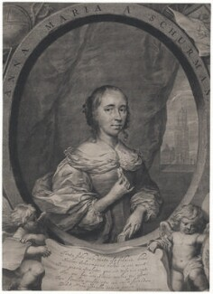 Anna Maria van Schurman, by Cornelis van Dalen the Younger, after  Cornelius Johnson (Cornelius Janssen van Ceulen) - NPG D43047