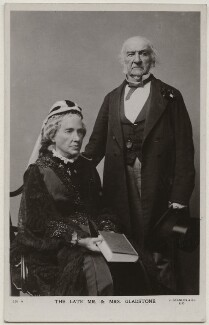 Catherine Gladstone (née Glynne); William Ewart Gladstone, by Herbert Rose Barraud, published by  J. Beagles & Co - NPG x197777