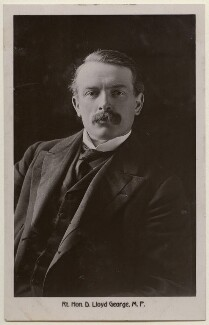 David Lloyd George, by James Russell & Sons, published by  The Shenley Real Photo Post Card (Percy Redjeb) - NPG x197802
