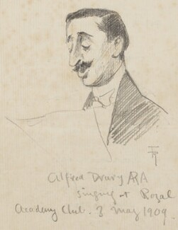 Alfred Drury ('Alfred Drury ARA singing at Royal Academy Club'), by Fred Roe - NPG D43065