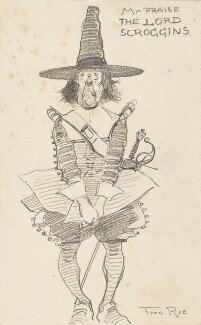 Comic sketch: 'Mr Praise the Lord Scroggins' (Unknown Sitter), by Fred Roe - NPG D43071