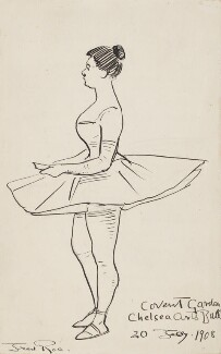''The Lady who was self-conscious about her legs! Chelsea Arts Ball 1908' (Unknown woman), by Fred Roe - NPG D43072