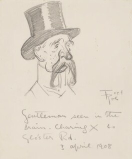 'Gentleman seen in the train - Charing Cross to Gloucester Road' (Unknown man), by Fred Roe - NPG D43082