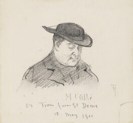 'M l'Abbé on Train from St Denis' (Unknown sitter), by Fred Roe - NPG D43090