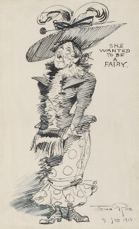 Comic sketch: 'She wanted to be a fairy' (Unknown sitter), by Fred Roe, 9 January 1911 - NPG  - © National Portrait Gallery, London