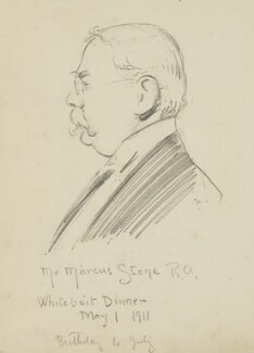 Marcus Clayton Stone ('Mr Marcus Stone R.A. Whitebait Dinner May 1 1911'), by Fred Roe - NPG D43097