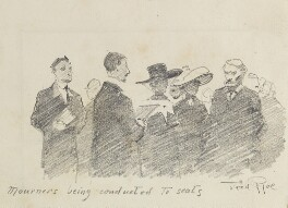 'Mourners being conducted to seats' (Unknown sitters), by Fred Roe - NPG D43129
