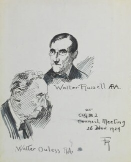 Walter William Ouless and Sir Walter Westley Russell, by Fred Roe - NPG D43140