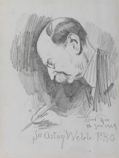 Sir Aston Webb signing the minutes, by Fred Roe - NPG D43147