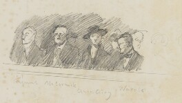 Mourners at the funeral of Sir Frank Dicksee (Francis Raymond, Arthur David McCormick, Anna Airy and Arthur Wardle), by Fred Roe - NPG D43183