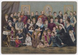 'The Royal Circle at Windsor (Four Generations)' (Queen Victoria with her children, grandchildren, great grandchildren and one unknown sitter), by Raphael Tuck & Sons - NPG D43330