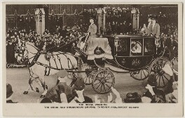 'The Royal Wedding: The Bride and Bridegroom driving through Parliament Square', published by The Photochrom Co Ltd - NPG x193013
