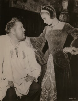 Charles Laughton as Henry VIII and Jean Simmons as Elizabeth I in 'Young Bess', by Unknown photographer - NPG x199015