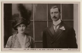 Queen Alexandrine of Denmark (née Crown Princess Alexandrine of Mecklenburg-Schwerin); Christian X, King of Denmark, by Ernest Brooks, published by  Rotary Photographic Co Ltd - NPG x193193