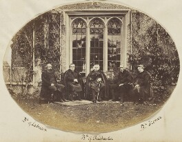 Francis Thomas McDougall; Samuel Wilberforce; Ashurst Turner Gilbert; Walter John Trower and an unknown clergyman, by Unknown photographer - NPG Ax139189