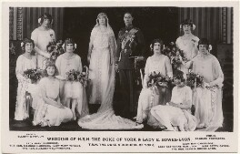 'Wedding of H.R.H. the Duke of York & Lady E. Bowes-Lyon', by Elliott & Fry, published by  J. Beagles & Co - NPG x193255